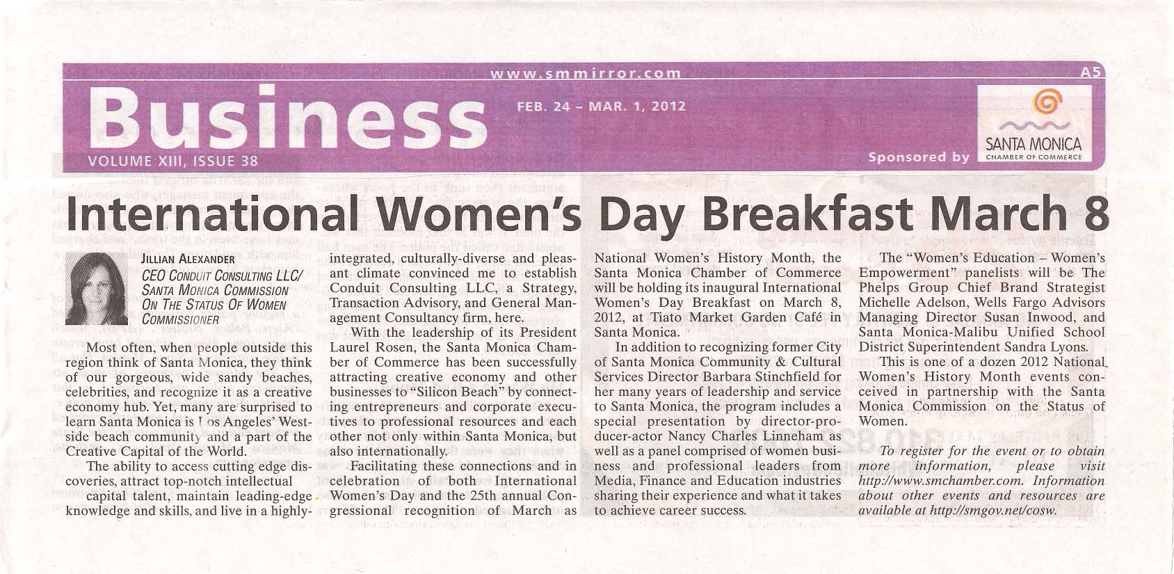Santa Monica Mirror dotCom. Story: Local Businesswomen Celebrate 2012 International Women's Day